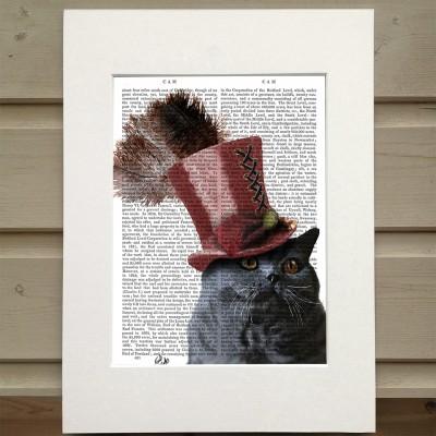 Fab Funky grey steampunk cat in top hat antiquarian print