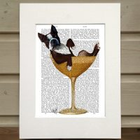 Fab Funky Boston Terrier in a cocktail glass antiquarian book print