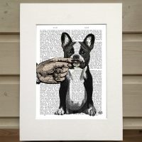 Fab Funky French Bulldog antiquarian book print