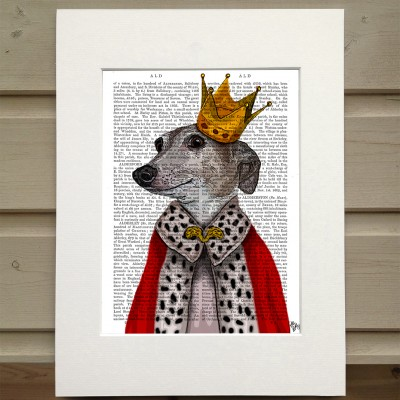 Fab Funky Greyhound queen antiquarian book print