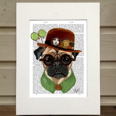 Fab Funky Steampunk Pug antiquarian book print