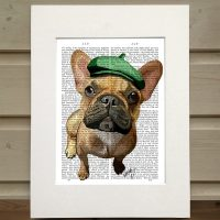 Fab Funky fawn French Bulldog antiquarian book print