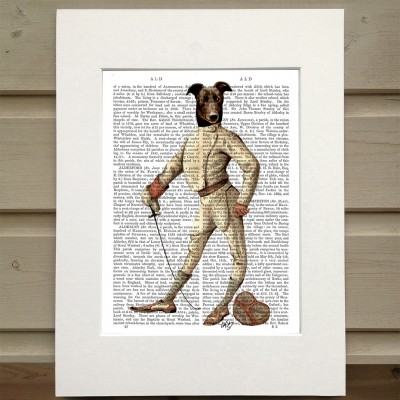 Fab Funky fencing Greyhound antiquarian book print