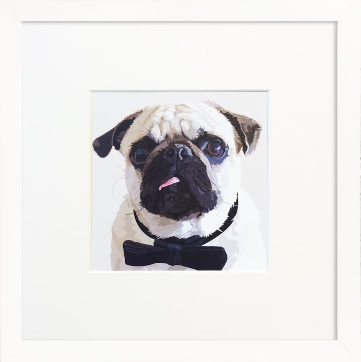 Pug in a bow tie framed print