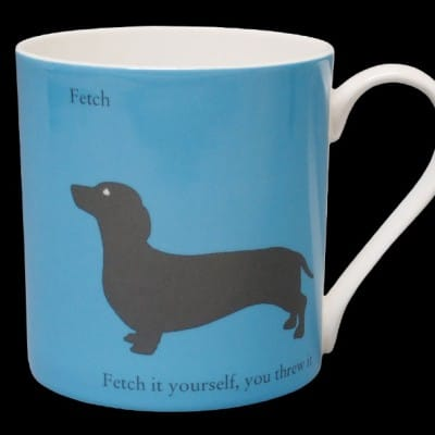 Silhouette Dachshund large mug blue