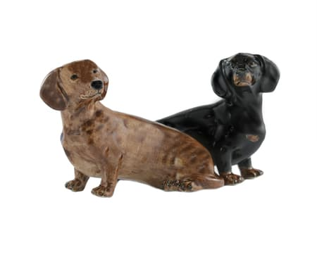 Quail Ceramics Dachshund salt and pepper shakers