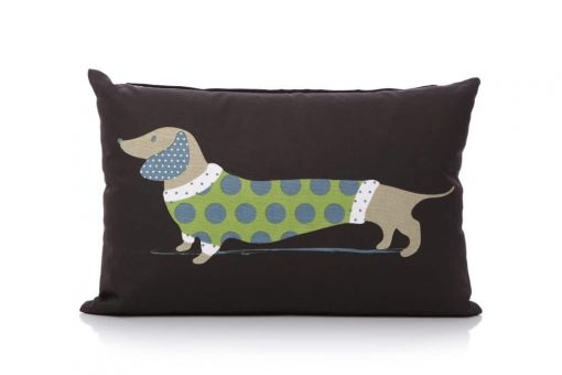 Lisa Buckridge Hot Dog cushion green and black