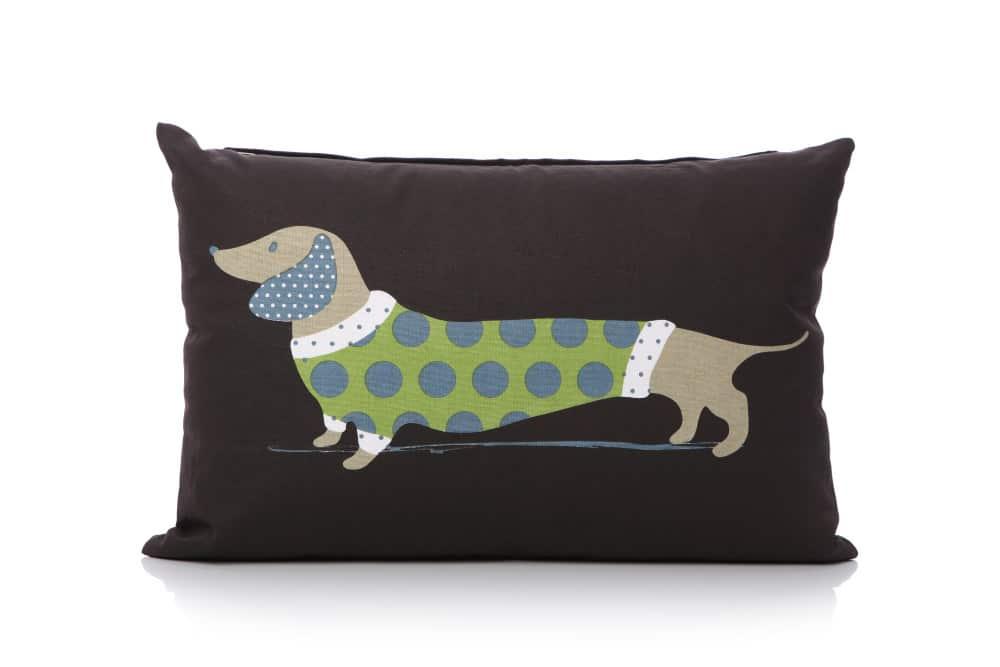 Lisa Buckridge Hot Dog cushion green and black