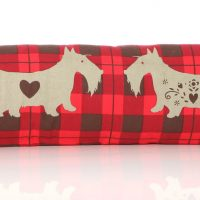 Scottie draught excluder red tartan
