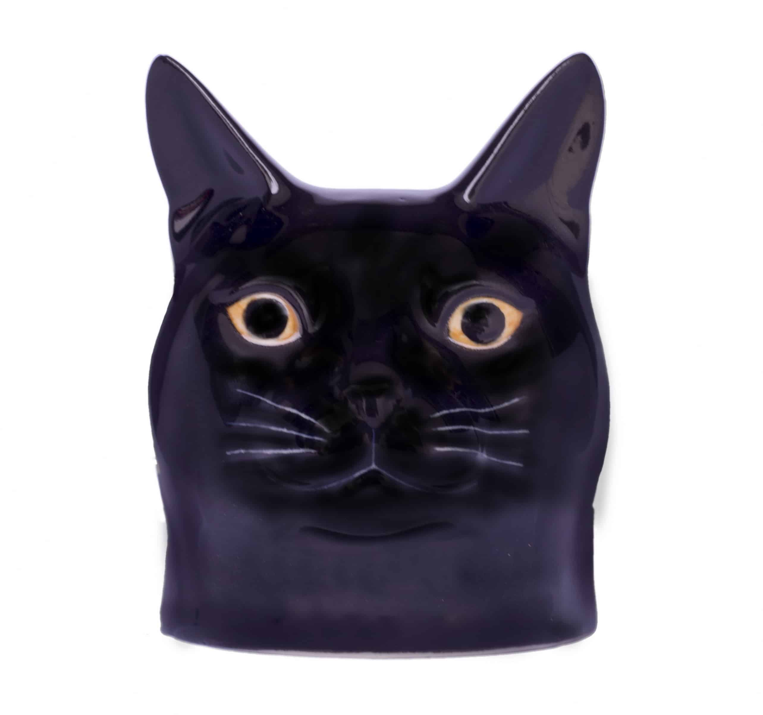 Lucky black cat face egg cup