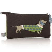 Lisa Buckridge Hot Dog double zip cosmetic purse black