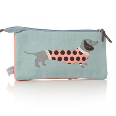 Lisa Buckridge Hot Dog double zip cosmetic purse blue