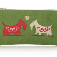 Lisa Buckridge Scottie cosmetic purse green