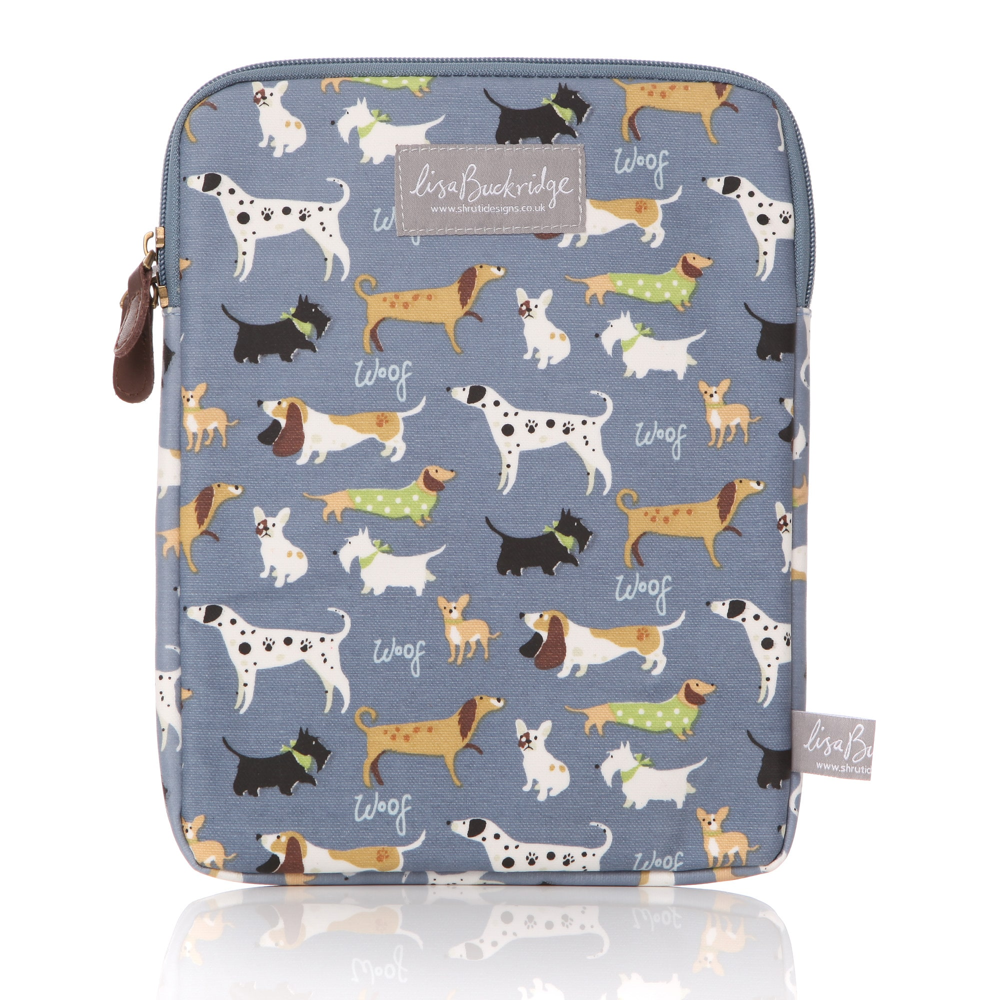 Lisa Buckridge Walkies oilcloth ipad sleeve blue
