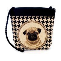 Handmade tapestry crossbody bag Pug