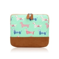 Dachshund ipad sleeve green