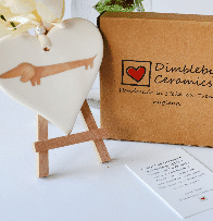 Dimbleby Ceramics ceramic heart Dachshund