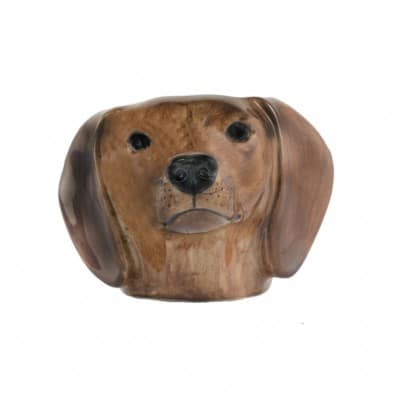 Quail Ceramics Dachshund face egg cup red