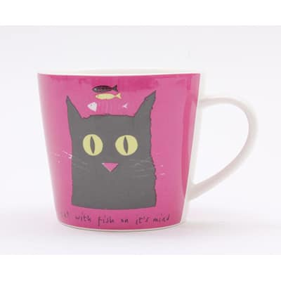 Jane Ormes Thinking Cats cat with fish mug