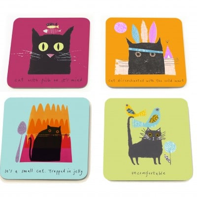 Jane Ormes Thinking Cats set of 4 coasters