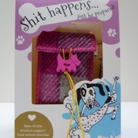 Harris Tweed posh dog poo bag grey pink blue check