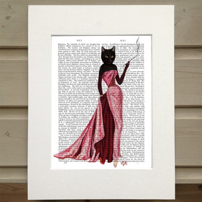 Fab Funky glamour cat in pink evening dress antiquarian print