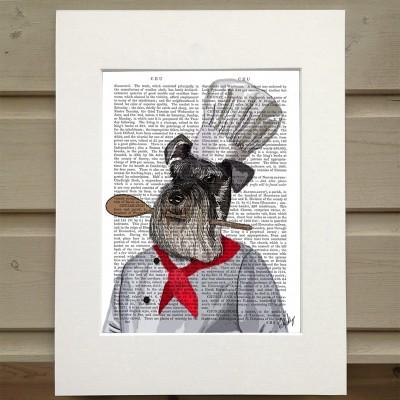Fab Funky Schnauzer chef antiquarian book print
