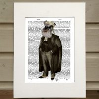 Fab Funky Schnauzer lawyer antiquarian book print