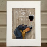 Fab Funky dog au vin Dachshund wine snob print