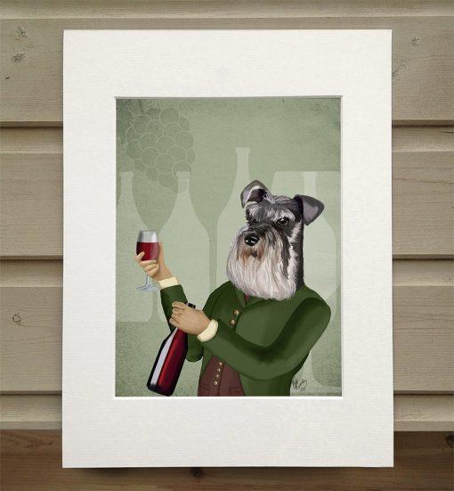 Fab Funky Schnauzer wine snob print