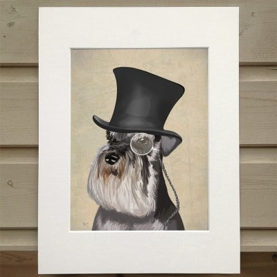Fab Funky Formal Hound and Hat Schnauzer Print – 10″ x 8″ in Ivory Mount