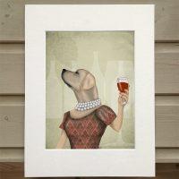 Fab Funky yellow Labrador wine snob print