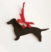Dimbleby Ceramics Dachshund with jewelled ribbon