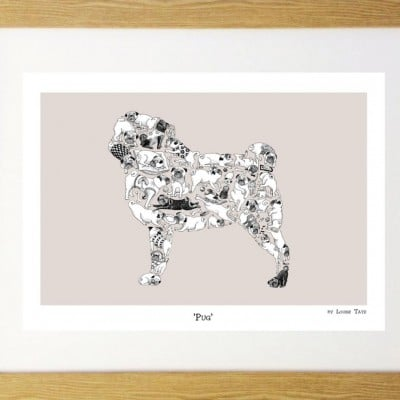 Pugs in a Pug 12 x 16 framed print by Louise Tate
