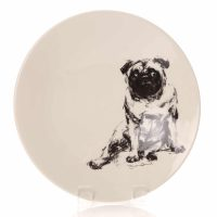 Justine Osborne fine art large shallow bowl of a pug lolling