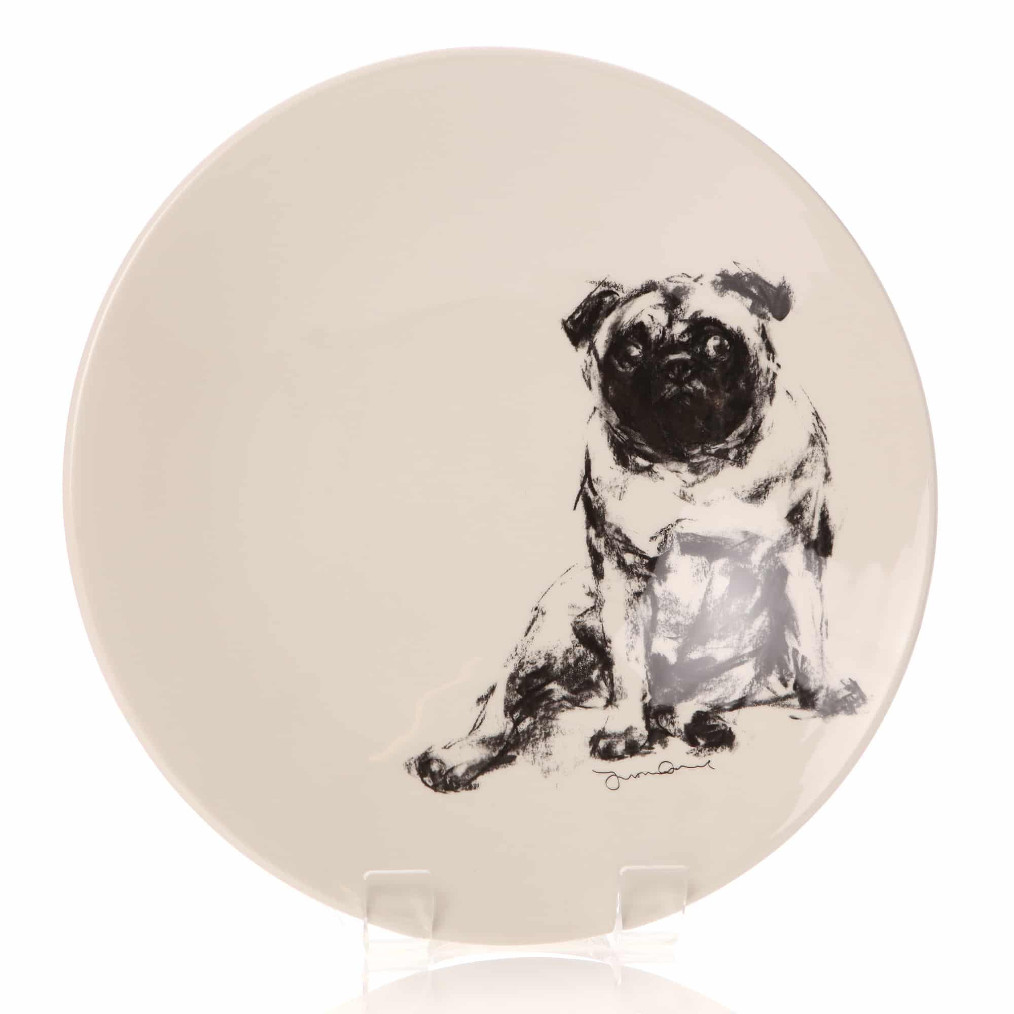 Justine Osborne fine art large shallow bowl of a pug lolling