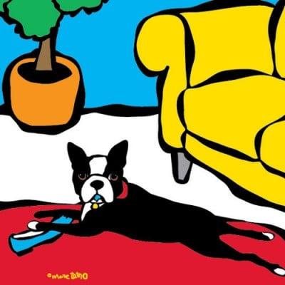 Marc Tetro Boston Terrier with Blue Shoe Print