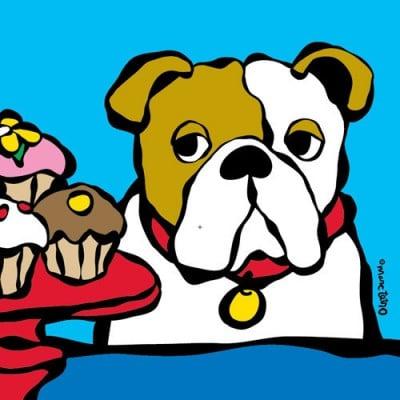 Marc Tetro Bulldog with Cupcake Print