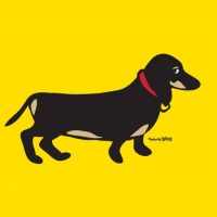 Marc Tetro Dachshund on Yellow Print