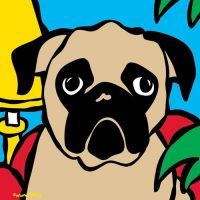 Marc Tetro Pug on a red chair print