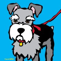 Marc Tetro Schnauzer with Red Leash Print