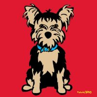 Marc Tetro Yorkshire Terrier on Red Print