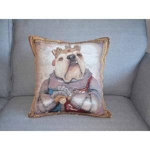 Bulldog King Henry V tapestry cushion