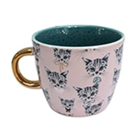 Disaster Designs Meow Pink and Teal Cup Repeat Print
